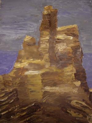 Felsen am Meer (gespachtelt)