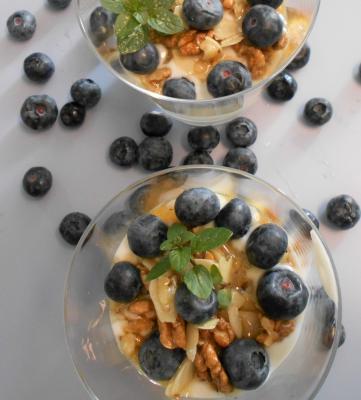 Joghurt mit - Nüssen - Honig und Heidelbeeren