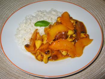 Hähnchengeschnetzeltes mit Pfirsich-Currysoße von Speckböhnchen123