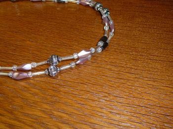 Magnetperlenkette altrosa-silber II