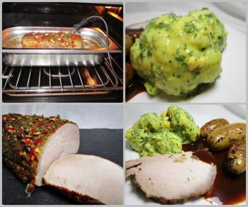 Schweinerückenbraten, saftig gegart, Blumenkohl mit Eier-Kräuter-Sauce, gebratene Kartoffeln