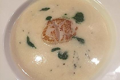 Petersilienwurzel - Suppe mit Spinatschaum, Jakobsmuscheln und frittiertem Spinat 3