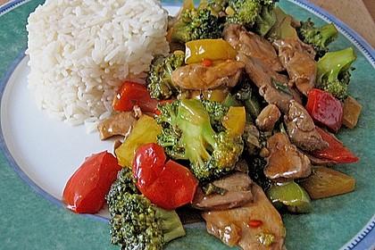 Hähnchenbrustgeschnetzeltes mit Paprika und Brokkoli aus dem Wok 6