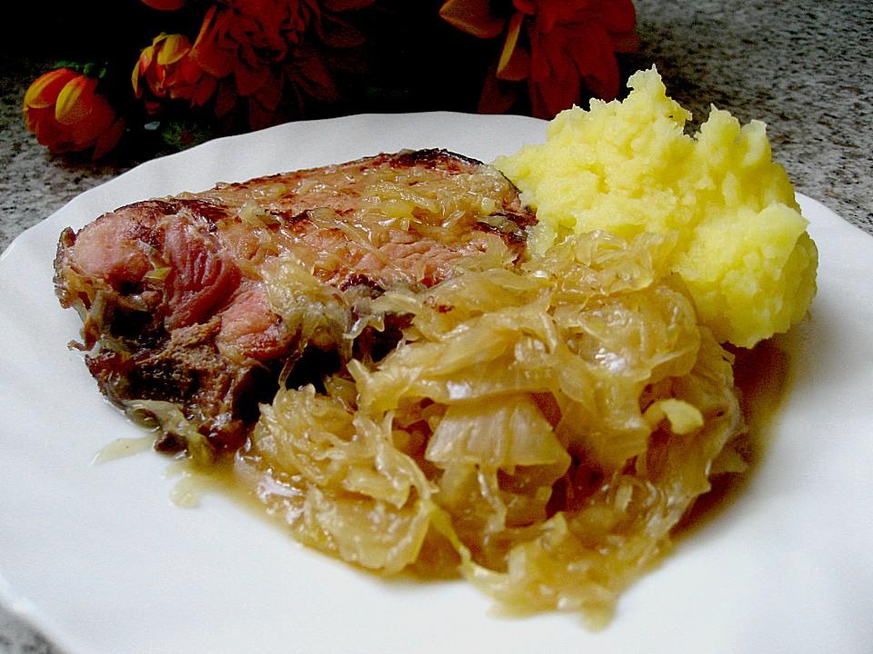 kassler mit sauerkraut und kartoffelpüree