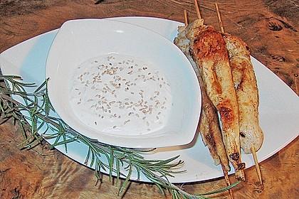 Hähnchen - Kebab mit Sesam - Joghurt - Kokosmilch - Sauce