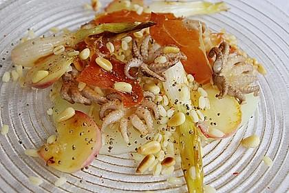 Salat von gegrillten Mini - Pulpos, Speck, Zartweizen,