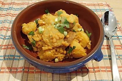 Kartoffel-Curry mit Linsen