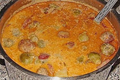Rosenkohlsuppe mit Cabanossi und Basilikum 7