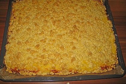 Hefekuchen vom Blech mit Pudding und Streuseln 10