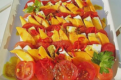 Mango - Tomaten - Pecorino - Salat, lauwarm serviert