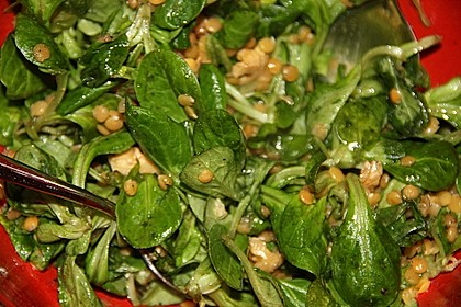 Belles Feldsalat mit roten Linsen 2