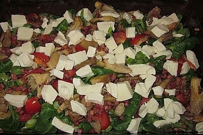 Lauwarmer Feldsalat mit Austernpilzen, Tomaten und Mozzarella 6