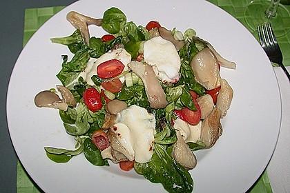 Lauwarmer Feldsalat mit Austernpilzen, Tomaten und Mozzarella 1