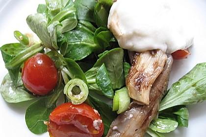 Lauwarmer Feldsalat mit Austernpilzen, Tomaten und Mozzarella 4