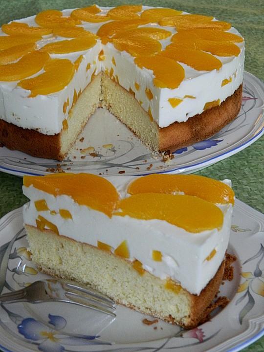 Pfirsich Joghurt Torte Mit Vanillehauch Von Seelenschein Chefkoch De