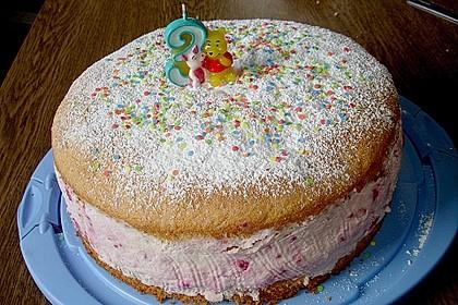 Quark - Sahne - Torte mit Himbeeren (Bild)