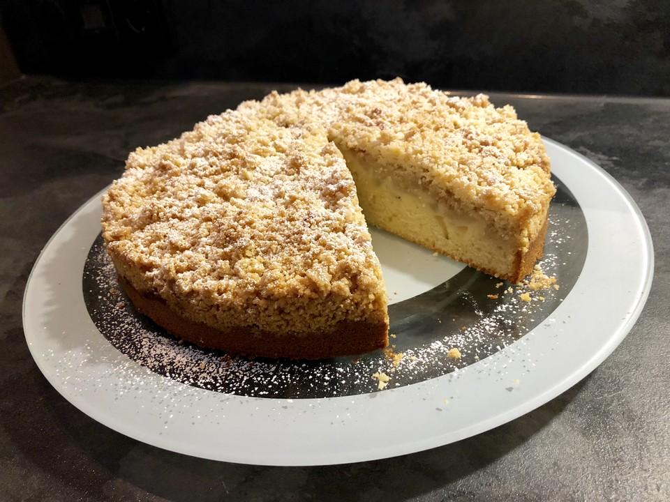 Sahne Birnen Kuchen Mit Streuseln Von Sandy07 Chefkoch De
