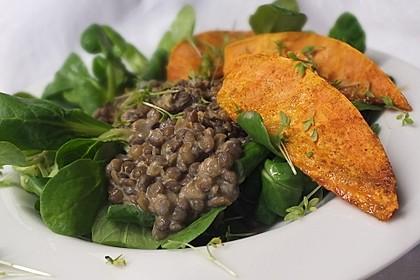 Feldsalat mit Belugalinsen und lauwarmen Süßkartoffeln 7