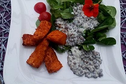 Feldsalat mit Belugalinsen und lauwarmen Süßkartoffeln 5