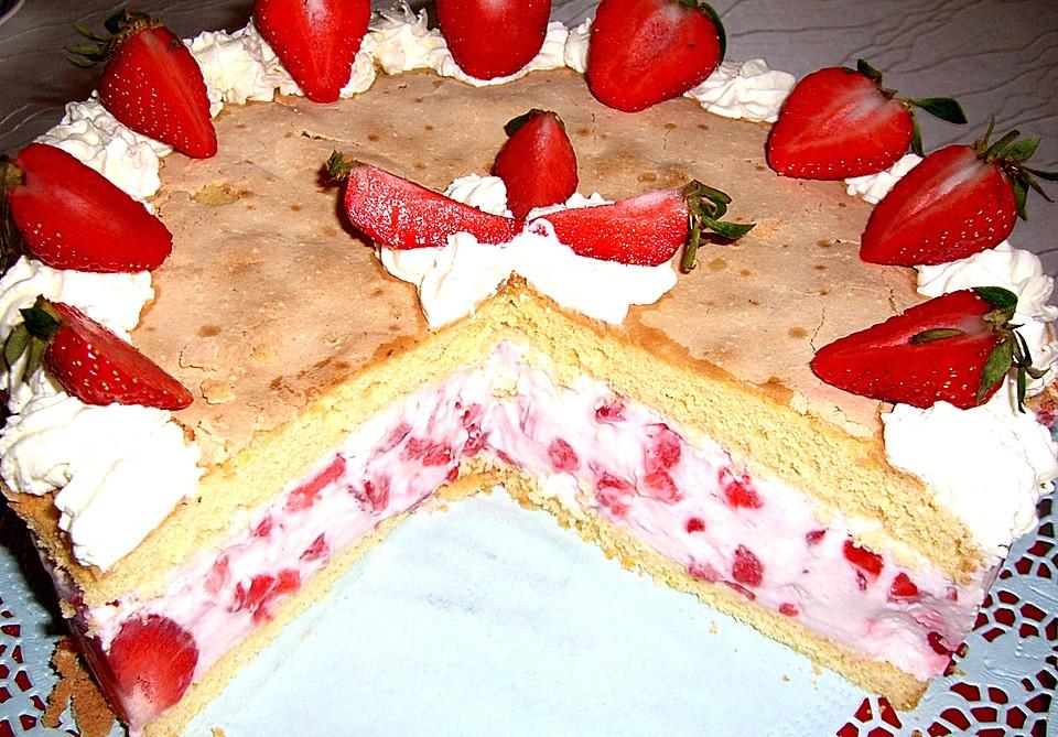 Vanille Erdbeer Torte A La Kase Sahne Von Seelenschein