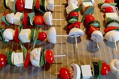 Feta - Gemüse - Grillspieße mit Salbei 7