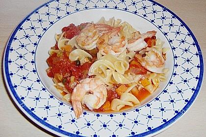 Spagehtti mit Tomaten - Garnelen - Sauce
