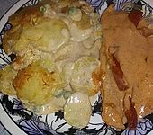Kartoffelgratin mit Putenschnitzel (Bild)