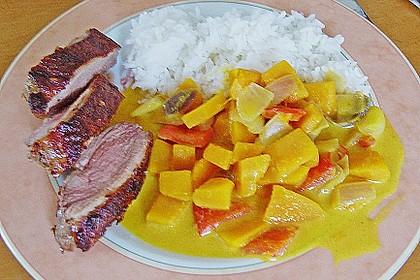 Kürbiscurry mit Paprika und Ente 1