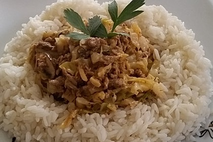 Spitzkohl-Champignon-Hack-Pfanne mit Reis 9