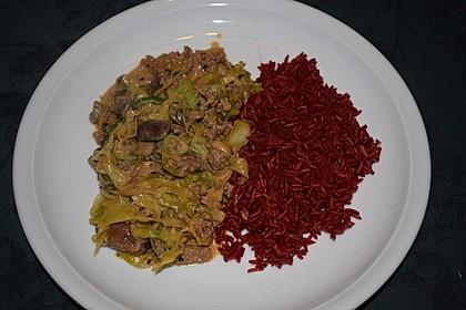 Spitzkohl-Champignon-Hack-Pfanne mit Reis 12