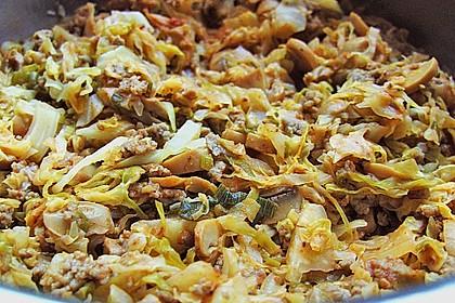 Spitzkohl-Champignon-Hack-Pfanne mit Reis 7