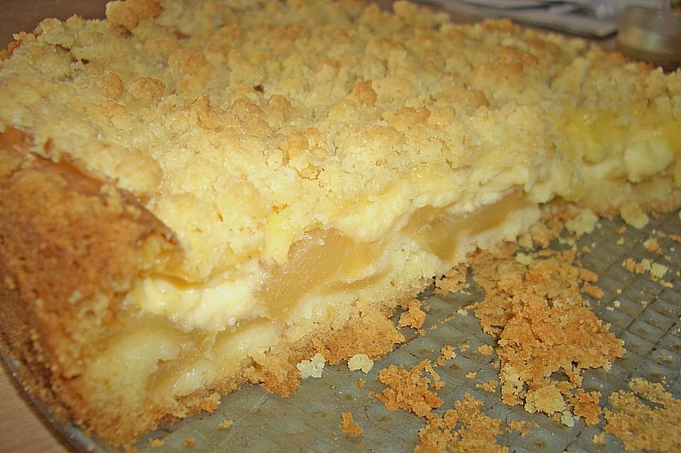 Leichter Apfelkuchen Mit Vanillepudding Und Streuseln Von Lorina