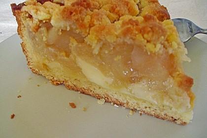 Leichter Apfelkuchen mit Vanillepudding und Streuseln 5