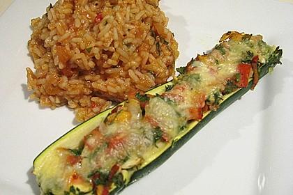 Überbackene Zucchini mit Mozzarella an Reis 1