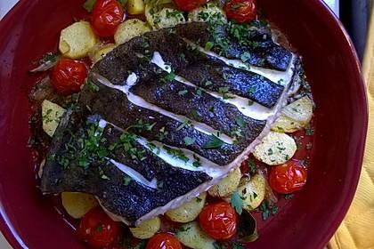 Steinbutt aus dem Rohr mit mediterranem Gemüse 3