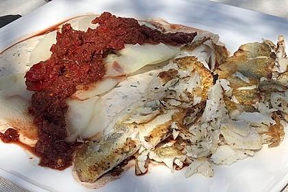 Zander auf Kohlrabi mit Sauerrahm - Schnittlauch - Creme und Paprikasorbet 2