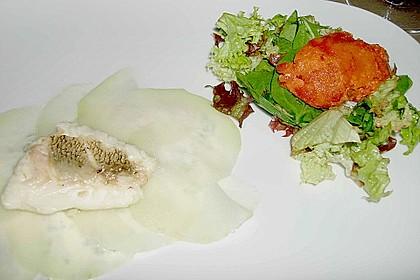 Zander auf Kohlrabi mit Sauerrahm - Schnittlauch - Creme und Paprikasorbet 3