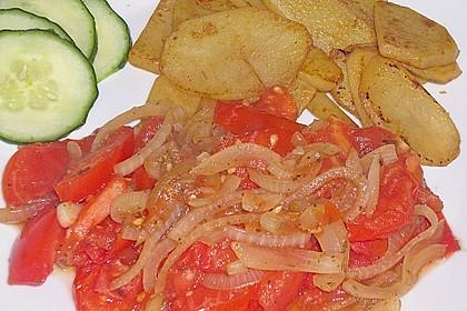 Illes schnelle und schmackhafte Tomaten - Zwiebel - Kartoffel - Gemüse - Beilage (Bild)