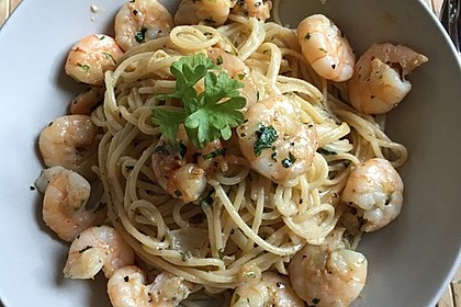 Spaghetti mit Garnelen 20