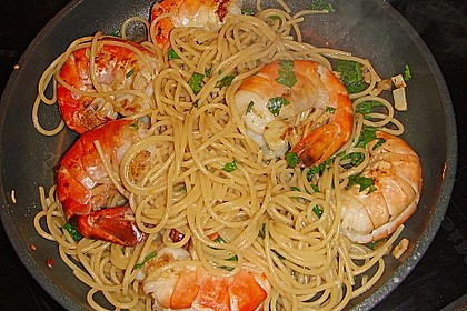 Spaghetti mit Garnelen 7