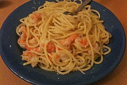 Spaghetti mit Garnelen 39