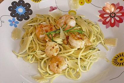 Spaghetti mit Garnelen 10