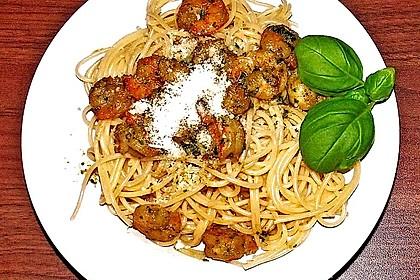 Spaghetti mit Garnelen 26