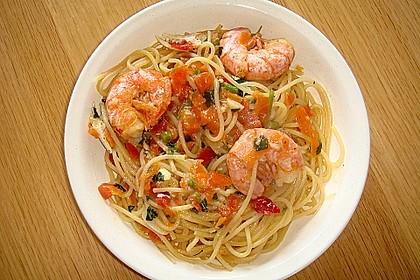 Spaghetti mit Garnelen 3