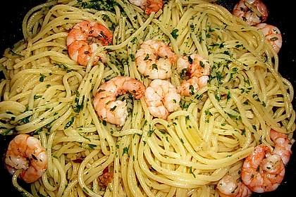 Spaghetti mit Garnelen 9