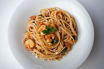 Spaghetti mit Garnelen 4