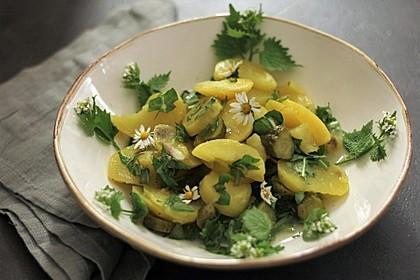 Kartoffelsalat mit Gänseblümchen und Löwenzahn 2