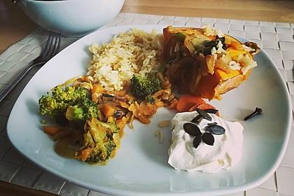 Baked Butternut mit Reis und Currygemüse 6