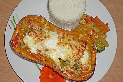 Baked Butternut mit Reis und Currygemüse 10