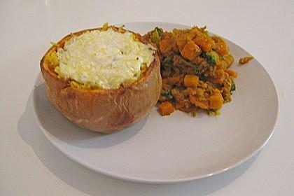 Baked Butternut mit Reis und Currygemüse 35